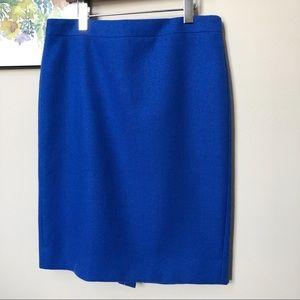 J. Crew Wool No. 2 Pencil Skirt Royal Blue Size 10